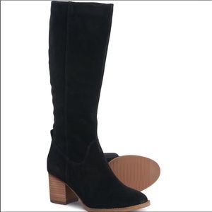NEW Blondo Suede Tall stacked Heel Boot Black 8.5